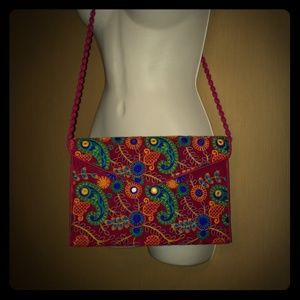 Indian Embroidered Mirror Crossbody